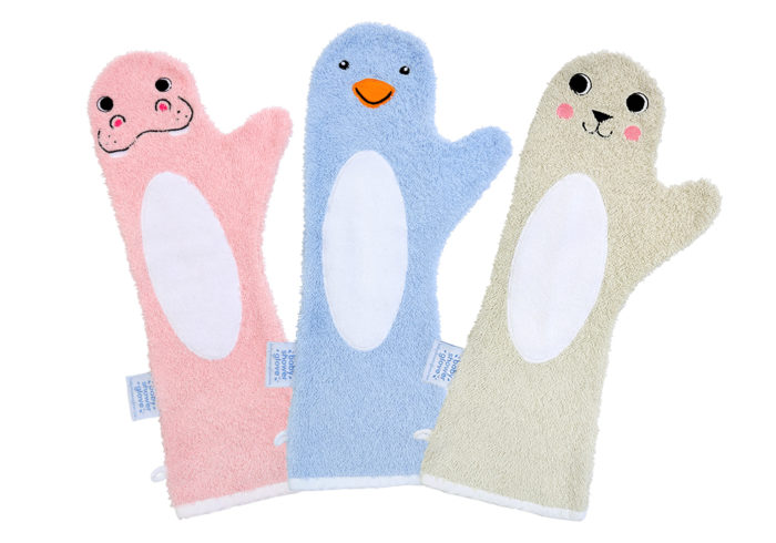 Baby shower glove Pinguin blauw