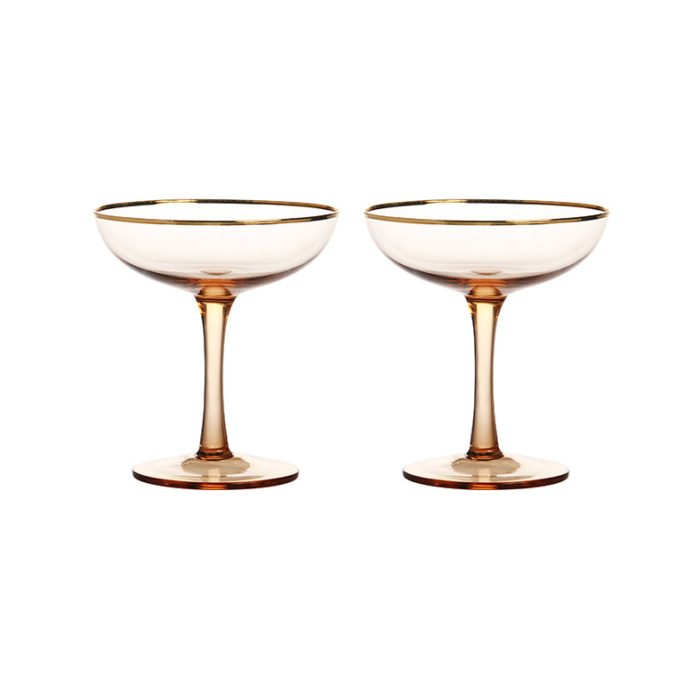 &k set 2 champagne coupe goud