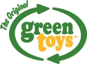 Green toy boot blauw