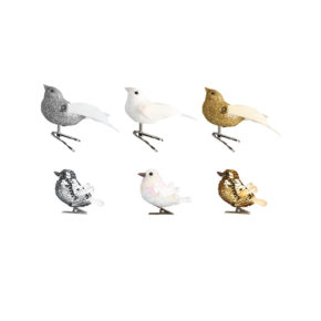 &k set 6 glitter birds clip