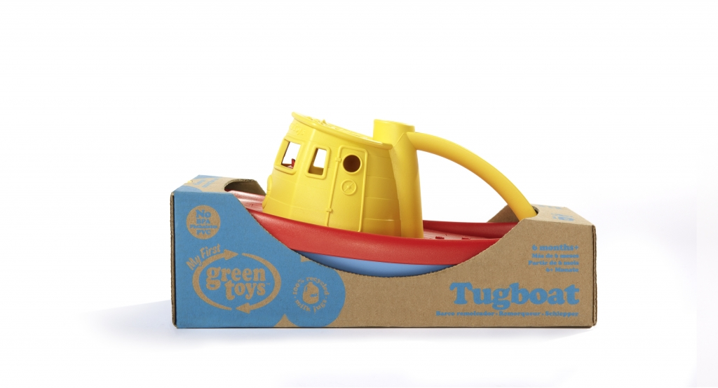 Green toy boot geel