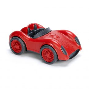 Green toy race car rood