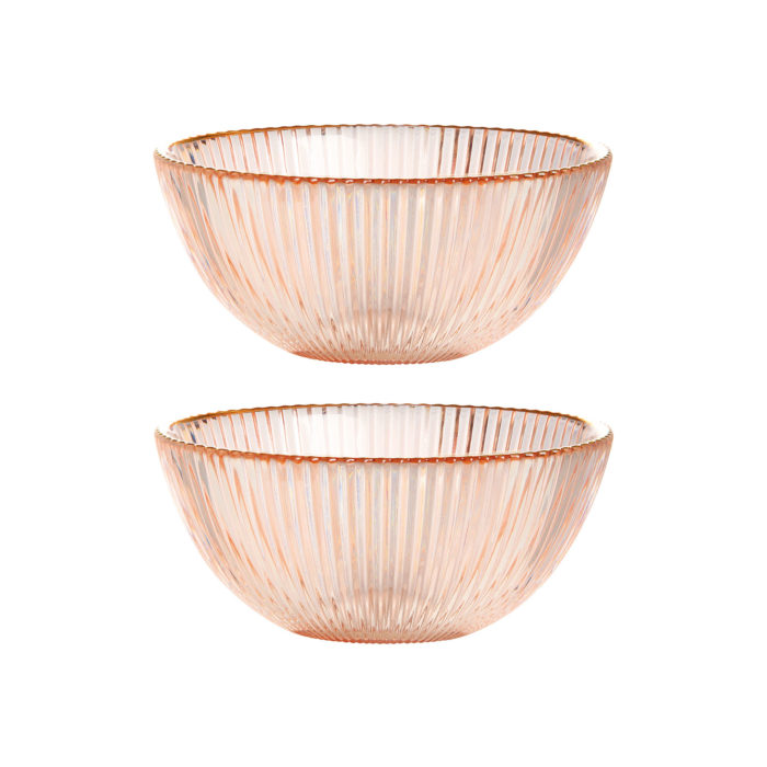 &k set 2 bowl small pink glass