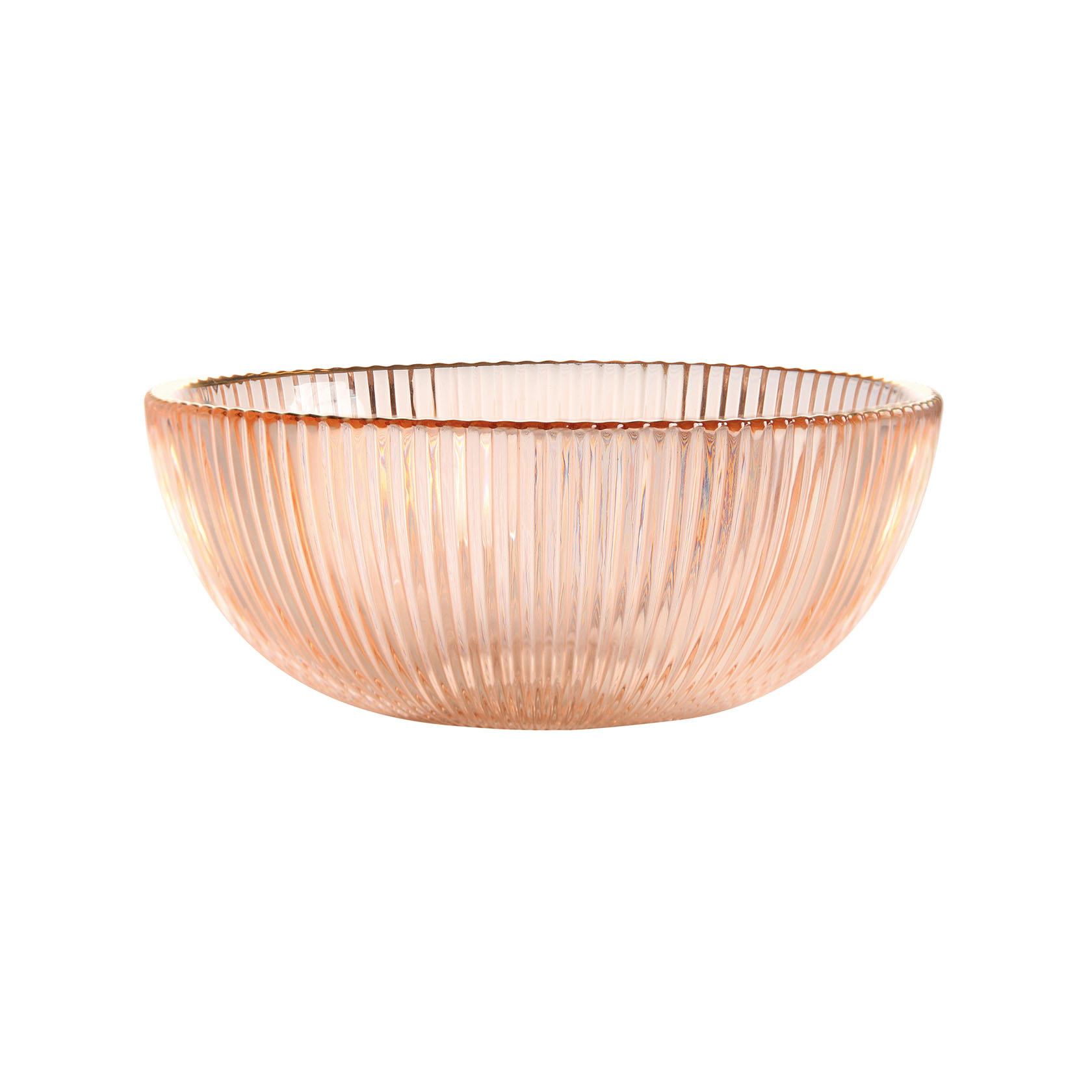 &k set 2 bowl pink glass