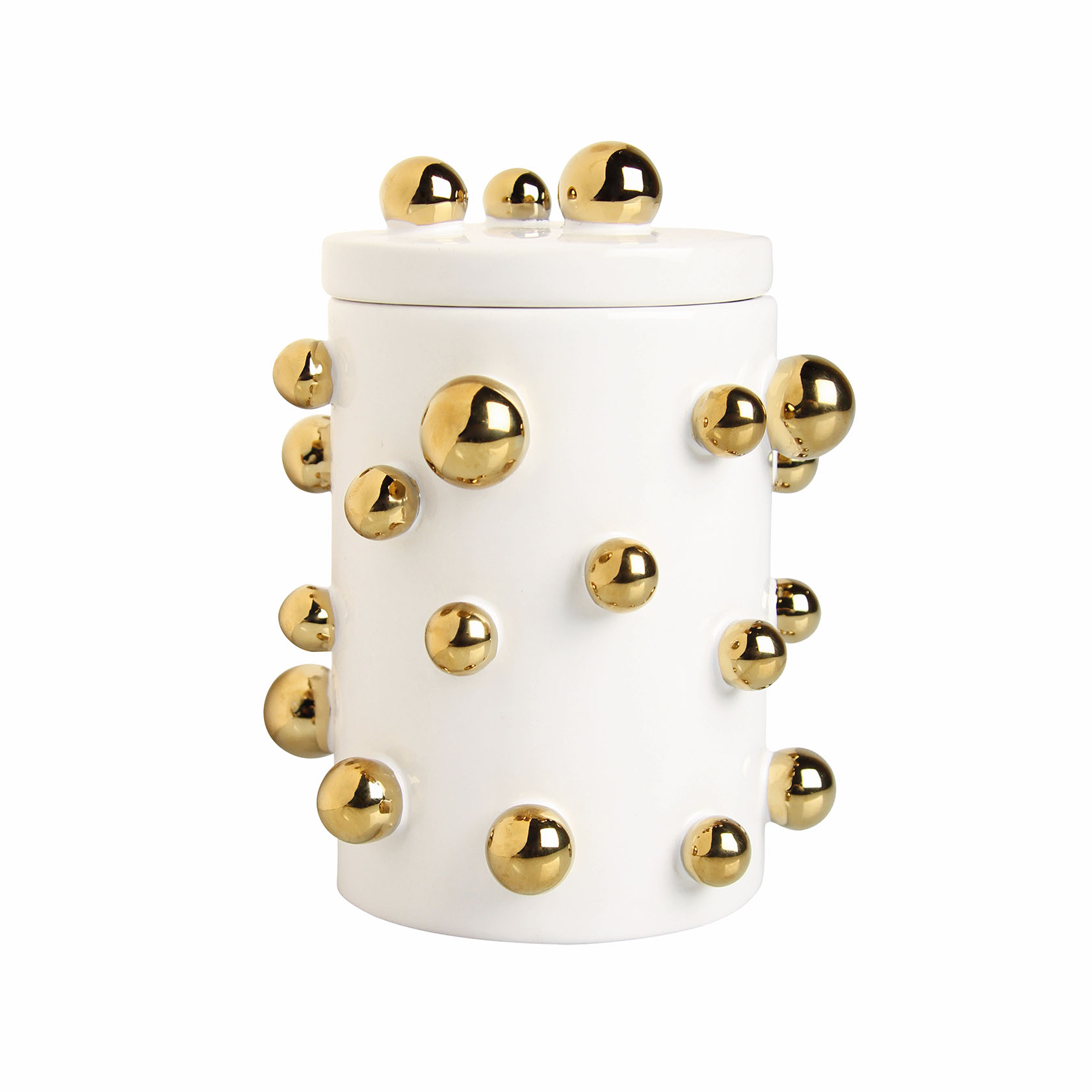 &k pot white dotted gold