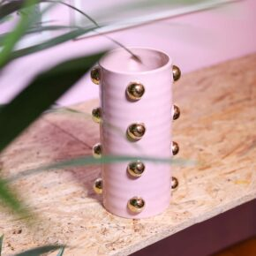 &k vaas pink dotted gold